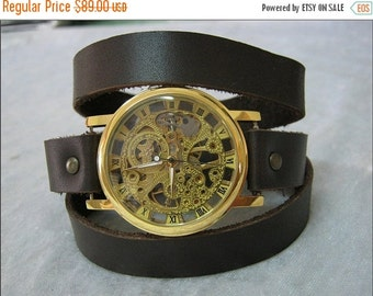 Leather Watch Skeleton Steampunk Watch Leather Wrap Watch brown leather Mechanical Gold Bracelet leather Watch with Roman Numbers FREE SHIP