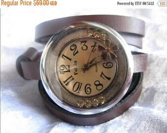 Leather Watch-Women wrist watch-Bracelet wrap Watch Leather strap band Wrap Watch Bracelet Antique Leather Watch- brown leather retro Watch