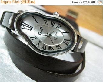 Leather Watch-Women Watches-Wrist Watch Women-Cuff Watch-Vintage-Bracelet Watch- Melting Fluid Watch-watch for women-leather watches