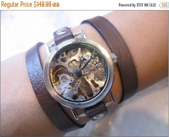 Skeleton Steampunk Mechanical Leather Wrap Watch Watch, Watch band, Unisex Watch, Leather Cuff Watch, Silver Watch, Leather Wrist Watch