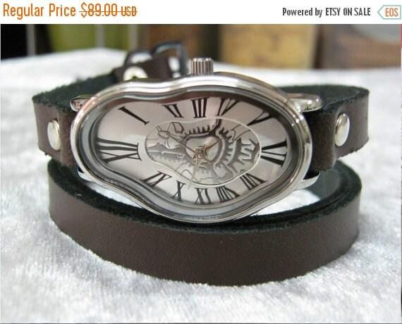 Leather Watch-Women wrist watch-Bracelet wrap Watch Elegant Wave Wavy Time Warp Silver Wrap Dali Fluid Watch - Wrist Watch - Leather Watches