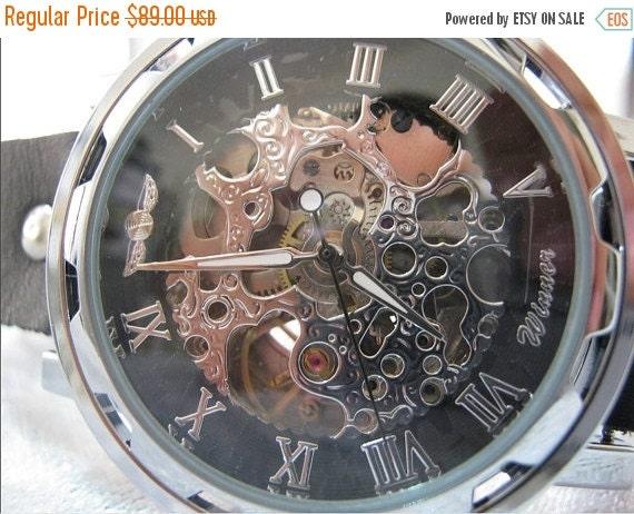 Steampunk Skeleton Mechanical Mens Mechanical wristwatches Steampunk Watch Black -Wrist Watches -Leather Watches-Men's Women's Retro Watches