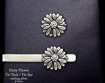 Daisy Tie Tack or Daisy Flower Tie Bar / Tie Clip Sterling Silver