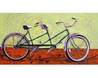 Tandem Vintage Schwinn 1964 Bicycle Art Print, Wedding Gift, Anniversary Gift, Bicycle Built for Two, Gift for Couple, Gift for Parents