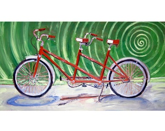 Tandem Bicycle Built for Two Art Print, Wedding Gift, Anniversary Gift, Gift for Parents, Gift for Couple, Schwinn Tandem Bicycle Art Print
