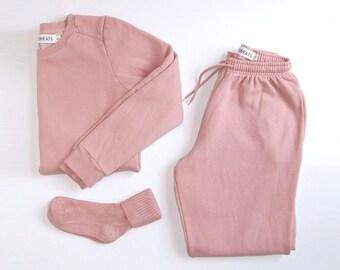 Pastel Pink Sweatsuit | Pink Joggers Sweatpants Sweatshirt | Skinny Sweatpants | Blush Sweats Joggers Crewneck Sweater | Pale Pink Aesthetic