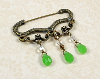 Sweater Pin - Victorian Sweater Clasp - Victorian Pin - Green Quartz Pin