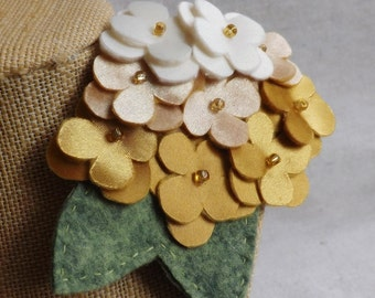 Hydrangea Brooch/Clip Combo in Shades of Gold