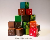 Woodland Hand-painted Decorative Wooden Blocks; Green & Brown, Forest