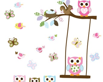 Branch with leaves owls birds butterflies