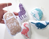 Plush Animal Ornaments Set of 5. Hand Woodblock Printed.