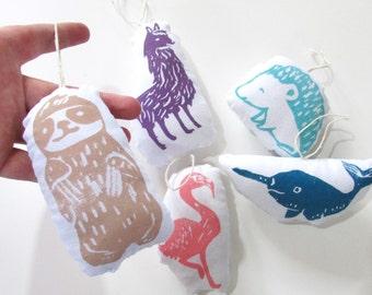 Plush Animal Ornaments Set of 5. Hand Woodblock Printed.