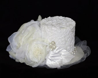 Bridal White Hat with Flowers Wedding Mini Hat Tea Party White Fascinator