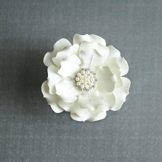 Ivory Flower Hair Clip Wedding: Ivory Color Satin Flower Hair Clip Wedding Hair By JerseyBride