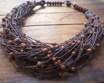 Multi Strand Linen Nevklace, Boho Necklace, Rustic Colour Necklace, Indo Pacific Handmade Beads