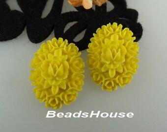 20% off - 418-00-CA  4pcs Beautiful Oval Roses Cabochon (18x25mm)- Lemon