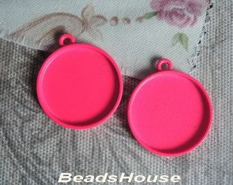 20%off - (25mm)  4pcs Matted Pink Enameled Round Setting,Nickel Free