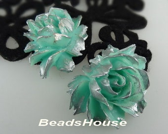 34-00-CA  2pcs Hight Quality Cabbage Rose with Silver Petals - Aqua