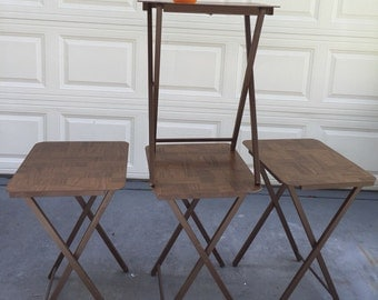 Sale! TV TRAYS Folding Tables Set of Four Mid Century Modern MCM Tiny Home Furniture, Miinimalist,1970s at Modern Logic