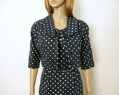 Vintage 1960s Pencil Dress Navy Blue White Polka Dot Dress and Jacket / XS to S