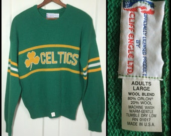 deadstock 1980's Boston Celtics Basketball Pro Sports Team pullover sweater striped sleeves Kelly Green NWT NOS Cliff Engle made in USA