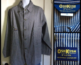 Deadstock Hickory Stripe Denim RR Chore Jacket size 46 XL Osh Kosh B'Gosh Union Made Sanforized