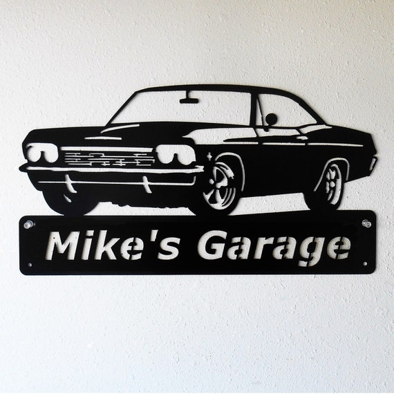 1965 Chevy Impala - Personalized Metal Sign- Man Cave- Classic Car - Muscle Car -Garage Sign -Satin black