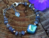 Hand Knotted Mystic Labradorite and Mystic Chrysoprase Multi Gemstone Boho Bracelet with Sterling Silver