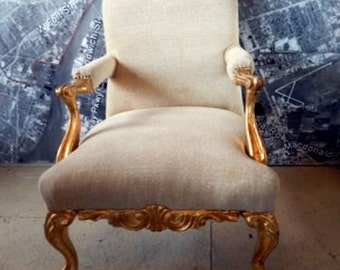 Vintage chair antiqwue ornate accent carved wood hollywood regency french gold and off white