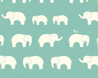 Organic DOUBLE GAUZE Fabric - Elephant Family Pool