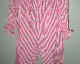 Vintage childs pink stripe Clown Costume with ruffled collar