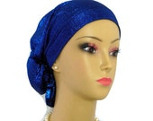 Metallic Royal Blue Hair Snood | Bling Jersey Knit Turban Ex Length  | Volumizer Chemo Headwear | Cancer Patient Hat | Hair Covering