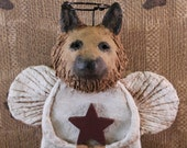 GERMAN SHEPHERD Angel,OOAK hand-sculpted from papier mache,German Shepherd Angel Figurine