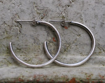 Sterling Silver Oxidized Hoop Earrings