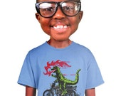 godzilla shirt funny japanese monster motorcycle  humor designed on kids screen printed tee sm m l xl