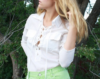 Vintage White Sheer Lace-Up Blouse