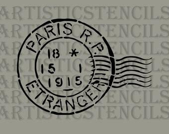 STENCIL Paris Postage Stamp 12x8.6 Inch