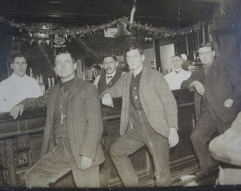 Antique Saloon Photograph - Gentlemans Club at the Pub with Sweet Cider