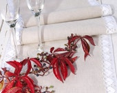 "Linen Table Runner Burlap Light Grey Linen Table Runner with white cotton lace Rustic Wedding Decoration  - 10 1/2"" x 58"""