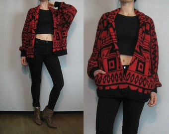 80s Mohair Wool Southwest Red Black Knit Ethnic Indian Tribal Cardigan Sweater I.B. Diffusion Small Medium 1980s