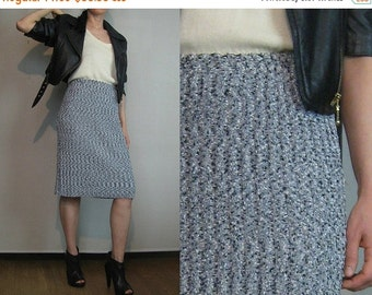 SUMMER SALE 80s SALT + Pepper Flecked Knit Vintage Black White Speckled Ribbed Knitted Tube Pencil Mini Midi Sweater Skirt xs/s Small s/m 19