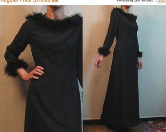 SUMMER SALE 70s BOA Maribou Feathers Neck + Cuffs Vintage Black Long Sleeve Rayon Maxi Dress Evening Gown s/m Medium 1960s 1970s