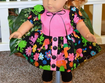 18 Inch Doll Clothes Short Sleeve Dress and Black Midcalf Length Tights by SEWSWEETDAISY