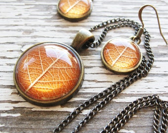 Real Botanical Jewelry Set - Autumn Orange Leaf Jewelry Set
