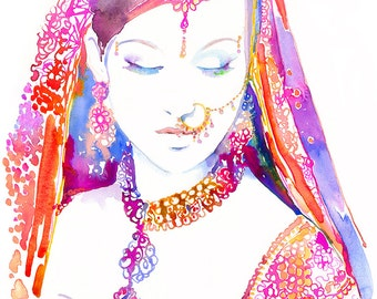 Canvas Giclee Archival Prints - Watercolour Fashion Illustration - Watercolor Indian Bride, Indian Fashion Print