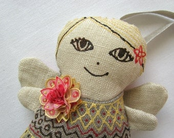 Fair-haired linen angel with pink gold flowers - linen ornament decorated with flower from handpainted silk