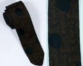 Black Ops Brown Tie, Skinny Tie, Men's Necktie, Neckties, Ties, 1950's Vintage Necktie, Vintage Ties, Vintage Necktie, Gifts For Men