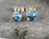 Blue topaz stud earrings sterling silver.