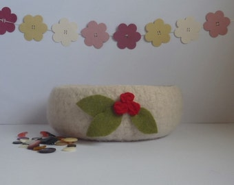 SALE..... FELTED 'Fusspot' bowl/ pod . ' English Rose'  ( A cream bowl with red rosebud corsage) ....UK seller..ready to ship......