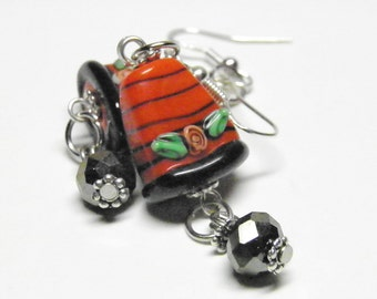 Thanksgiving Earrings, Sterling Silver Candy Corn Autumn Jewelry, Lampwork Glass Halloween Jewelry, Fall Earrings, Thanksgiving Jewelry OOAK